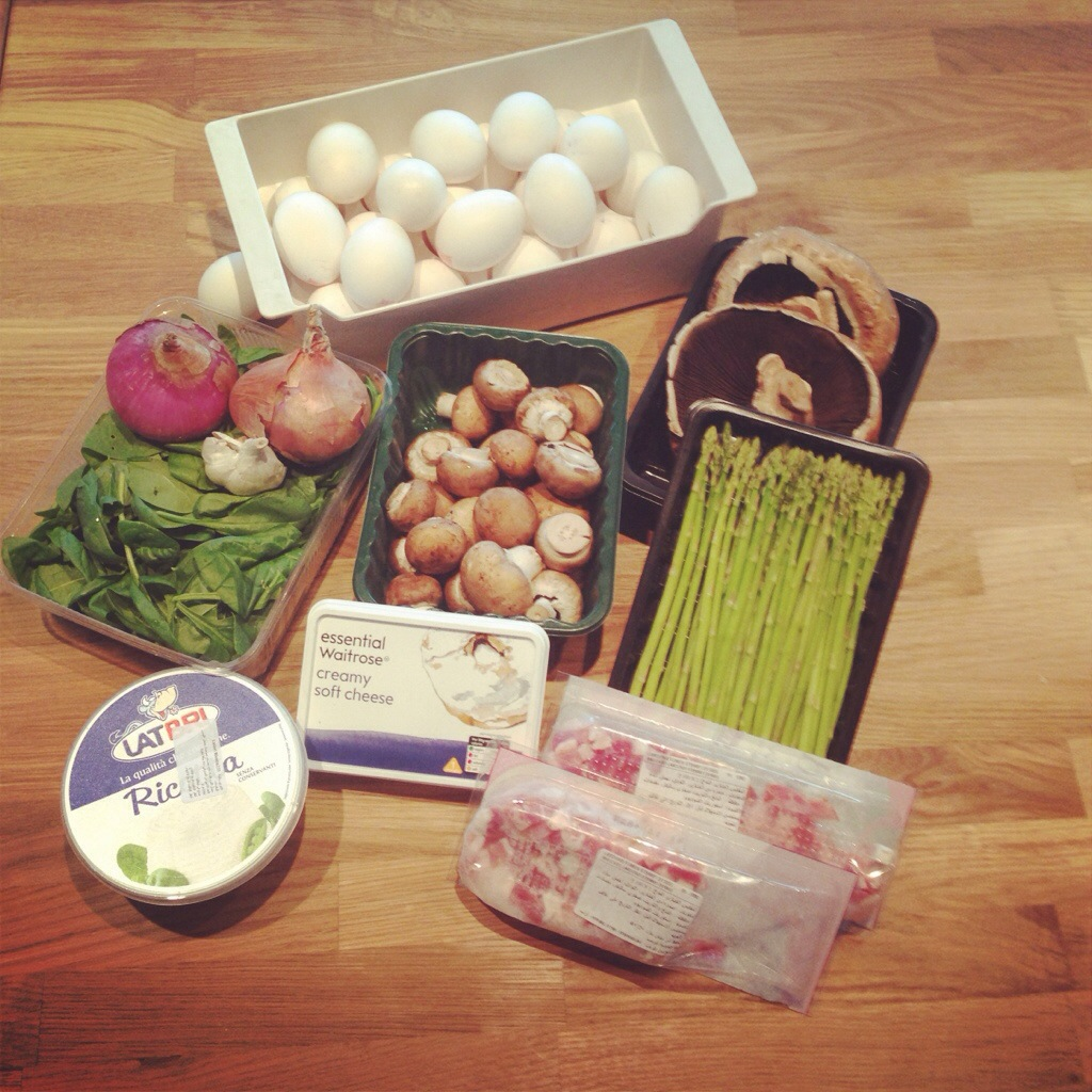 Blue cheese and bacon tart ingredients