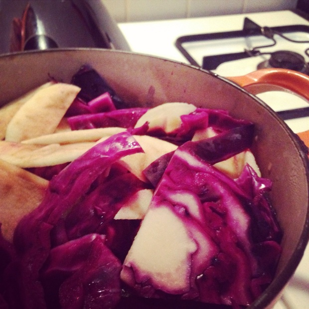 The red cabbage was the first thing to go on (other than the soup!). Just chop up your cabbage, add a peeled and chopped bramley apple, a clove-studded onion, and a good swig of white vinegar. Pop the lid on, and steam on a low heat for 30mins to an hour!